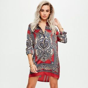 Missguided Red Scarf Print Dress